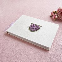 Traditional Wedding Guest Book in Ivory with Real Rosebud Heart - Ivory