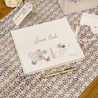\With Love\ Cream Classic Script Guest Book