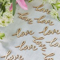 \Love\ Words Boho Inspired Wooden Wedding Table Confetti Trims