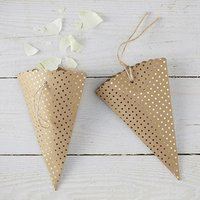 Kraft & Gold Polka Dot Cones - 10 Pack