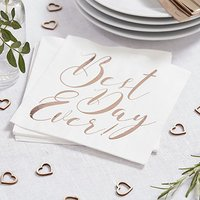 Best Day Ever Napkins Rose Gold Print - 20 Pack