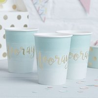 Mint & Gold Foil Hooray Paper Cups - 8 Pack