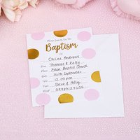Baptism Invitations Pink & Gold Circles