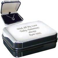 Silver Heart Necklace with Personalised Box