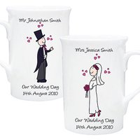 Personalised Bride And Groom Mug Set Our Wedding Day
