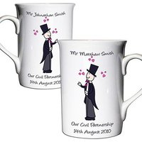 Personalised Male Civil Partnership Mug Set Civil Partners