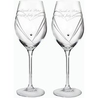 Personalised Heart Wine Glasses with Swarovski Elements