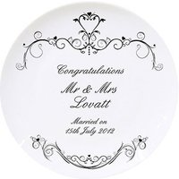 Ornate Swirl Wedding Plate Personalised