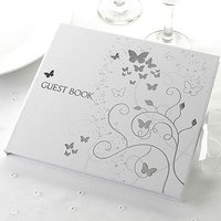 Elegant Butterfly Wedding Guest Book - White