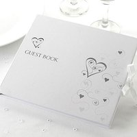 Contemporary Hearts Wedding Guest Book - Ivory