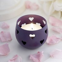 Purple Heart Detail Metal Tea Light Candle Holder
