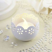 Broderie Anglaise Metal Tea Light Candle Holder - Pastel Blue