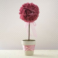 Fabric Petal Wedding Topiary Tree - Sage Green
