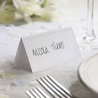 White Border with Accent Colour Wedding Place Card Pack - Pastel Pink