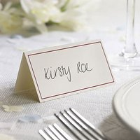 Ivory Border with Accent Colour Wedding Place Card Pack - Chocolate Brown