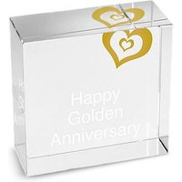 Personalised Gold Heart Crystal Block