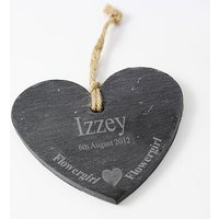 Flowergirl Slate Heart Decoration