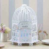 Vintage Lace Birdcage Post Box - Ivory