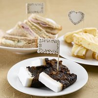 Vintage Romance Paper Food Flags - 20 Pack - Silver