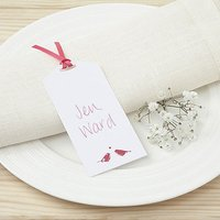 White and Fuchsia Eco Chic Birds Design Place Card Tag - 10 Pack