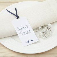 White and Navy Eco Chic Birds Design Place Card Tag - 10 Pack