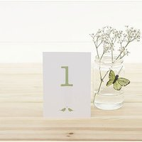 White and Sage Eco Chic Birds Design Table Numbers 1-15