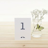White and Navy Eco Chic Birds Design Table Numbers 1-15