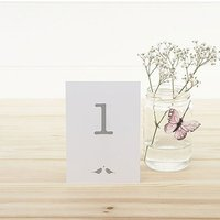White and Silver Eco Chic Birds Design Table Numbers 1-15