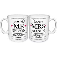 Mr & Mrs Personalised Ceramic Mug Set