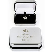 Butterfly Swirl Silver Personalised Necklace In Box
