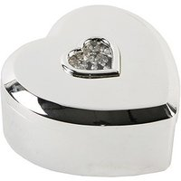 Silverplated Heart Shaped Trinket Box With Stones In Centre