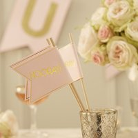 Pastel Pink and Gold Hooray Party Flag