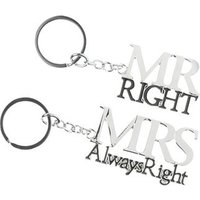 Mr Right & Mrs Always Right Couples Keyrings Set
