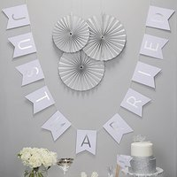 White And Silver Foil Just Married Bunting