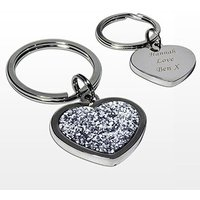 Personalised Diamante Glitter Heart Keyring