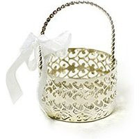 Silver Filigree Metal Cut Out Favour Basket