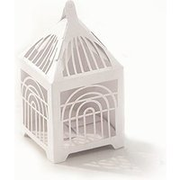 Pearl Lasercut Birdcage Favour Boxes Pack - White