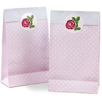 Pink Vintage Rose Paper Favour Bag