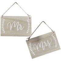 Mr & Mrs Wooden Hanging Chair Sign Set