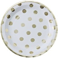 Gold Polka Dot Paper Plates - 8 Pack