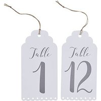 White Scalloped Edge Table Numbers 1-12