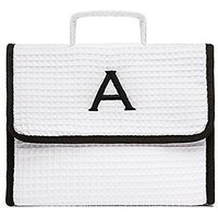 Women's Personalised Stand Up Cotton Waffle Makeup Bag- White