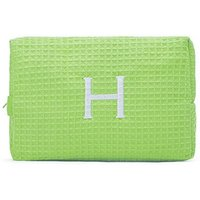 Large Cotton Waffle Cosmetic Bag - Lime