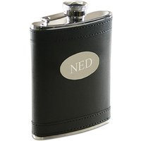 Black Faux Leather Large Hip Flask