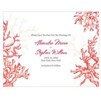 Reef Coral Save The Date Card