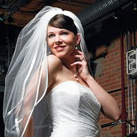 Double Border of Satin Ribbon & Pearls Veil - Ivory
