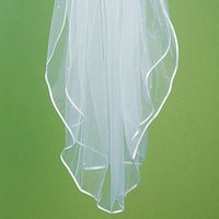 Satin Ribbon Edge & Scattered Pearl Border Veil - Ivory
