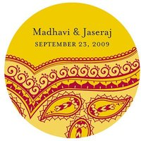 Indian Theme Stickers - Red Pattern
