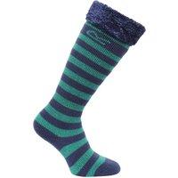 Kids Fur Collar Wellington Sock Green Navy
