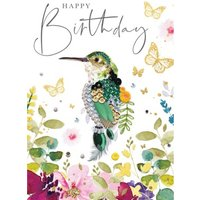 Happy Birthday Colourful Kingfisher Bird Card, Large Size By Moonpig